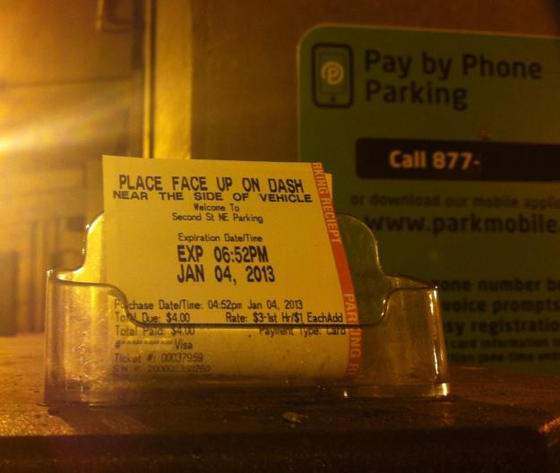 I saw this at 5:54 pm.  A free hour of parking for some lucky person - very nice!