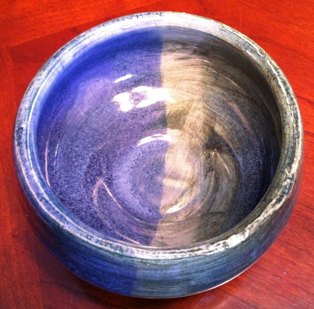 Last year I chose a bowl based on the guidance of a psychic, who told me I should begin introducing more orange into my life to help invigorate and energize my second chakra. (That story is 100% true.)  This year the bowl I was drawn to is a lovely combination of blue and green – the colors of the fourth and fifth chakra.  (Ah, yes, this feels right to me.)