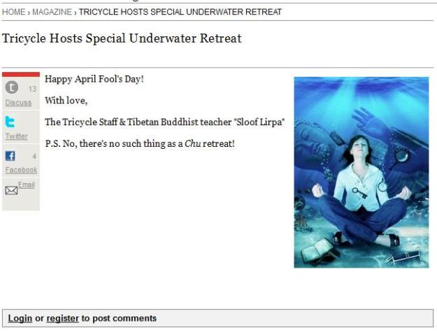 Buddhist april fool's joke