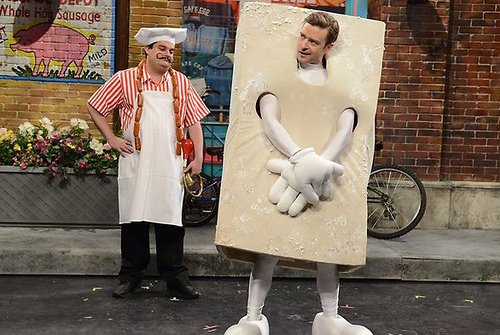 Justin Timberlake dressed as a blog of tofu for a Saturday Night Live sketch.  Awesome.