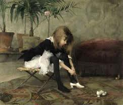"""Dancing Shoes"" by Helene Schjerfbeck, a Finnish painter.  1882"