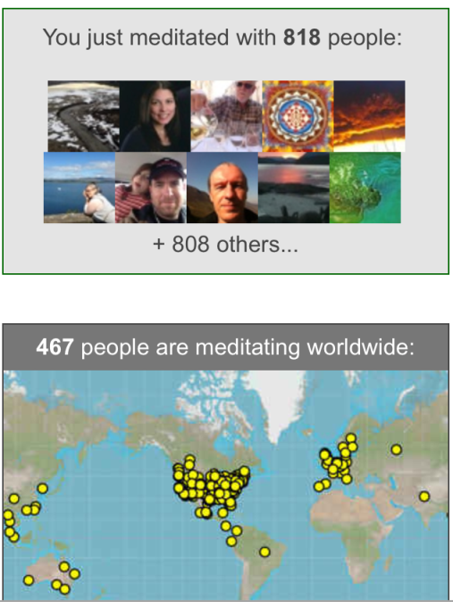 "A screen shot from ""Insight Timer"", the iPhone app I use for my daily meditation practice.  Looks like MANY other people enjoy early morning meditation!"