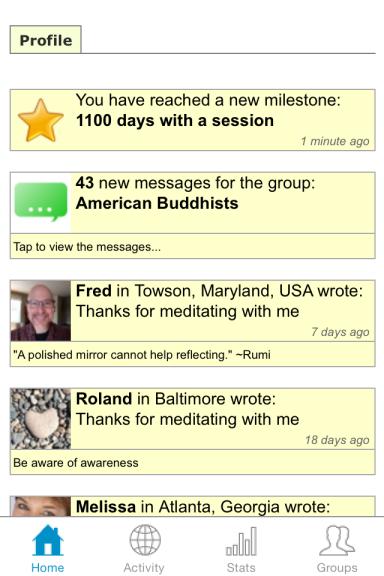 meditation app screen shot