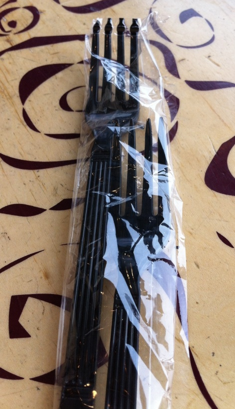 I know this image is difficult to see - it's two forks in one sealed package.  A manufacturing error in my favor.  :)