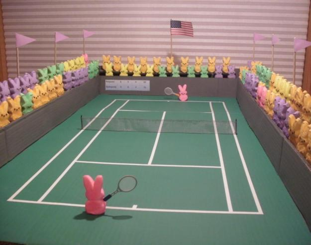 Peeps playing tennis