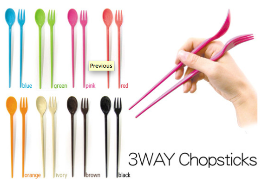 "The tag line for this product is, ""For People Who Can't Use Chopsticks Very Well.""  (Really!)"