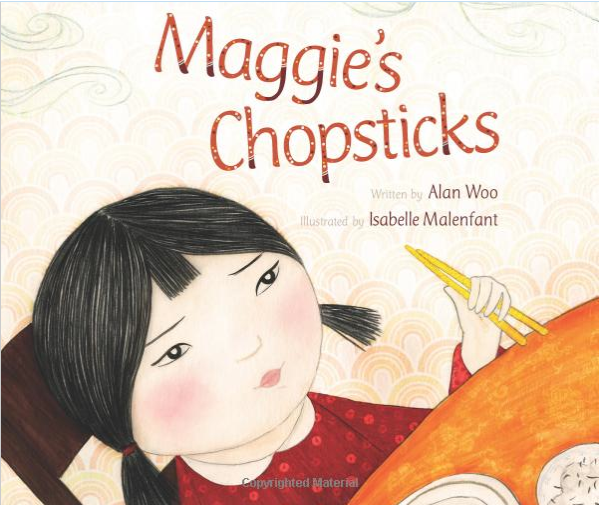 "Poor Maggie struggles to master her chopsticks -- it seems nearly everyone around the dinner table has something to say about the ""right"" way to hold them! But Father reminds her not to worry about everyone else, and find her own way. (Aww….)"